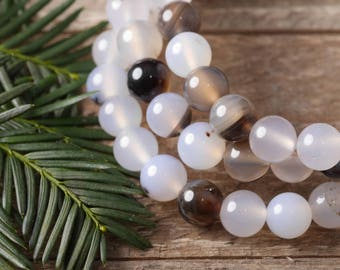 Tranquility WHITE AGATE Power Bracelet - White Agate Bracelet, White Agate Bead, Agate Jewelry, Healing Stone Bracelet Healing Crystal E0600