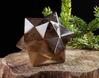 8.5cm SMOKY QUARTZ Star Polygon Crystal - Smoky Quartz Carving, Quartz Crystal, Meditation Crystal, Healing Crystal, Sacred Geometry 36813