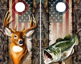 Wicked Wire Bass Buck Camo Flag LAMINATED Cornhole Wrap Bag Toss Decal Baggo Skin Sticker Wraps