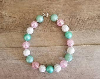 Aqua/Mint Pink White Chunky Necklace, Mint & Pink Chunky Necklace, Baby Necklace, Bubblegum Bead Necklace, Little Mermaid Necklace