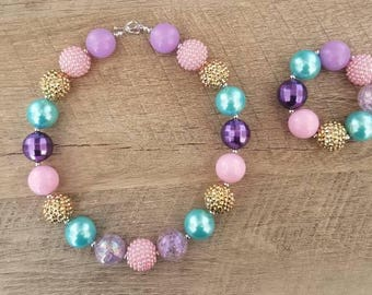 Unicorn Chunky Necklace, Mint  Pink Purple Chunky Necklace, Baby Necklace, Bubblegum Bead Necklace, Unicorn Birthday, Cake Smash Necklace