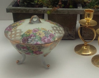 Signed 1084 Lefton China, Hand Painted, Reg. US, victorian candy dish is the steampunk accent you have been looking for, flowers and lattice