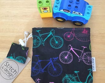 Bicycle Mini Grab n Play Drawstring bag, fully lined and with cord lock - perfect to carry a small selection of toys
