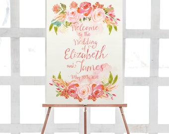 blush wedding welcome sign, printable welcome sign, wedding printable, watercolor, floral welcome sign, reception sign, poster, digital, diy