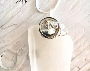 Sea glass and recycled button pendant