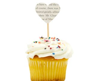 Heart Cupcake Topper - 12 ct. - Book Page Cupcake Topper