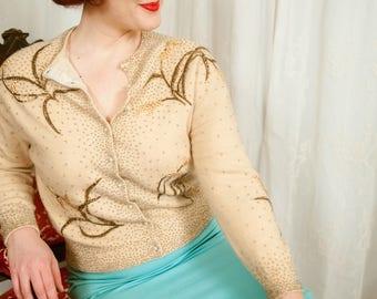 1950s Angora and Lambswool Cardigan - Medium