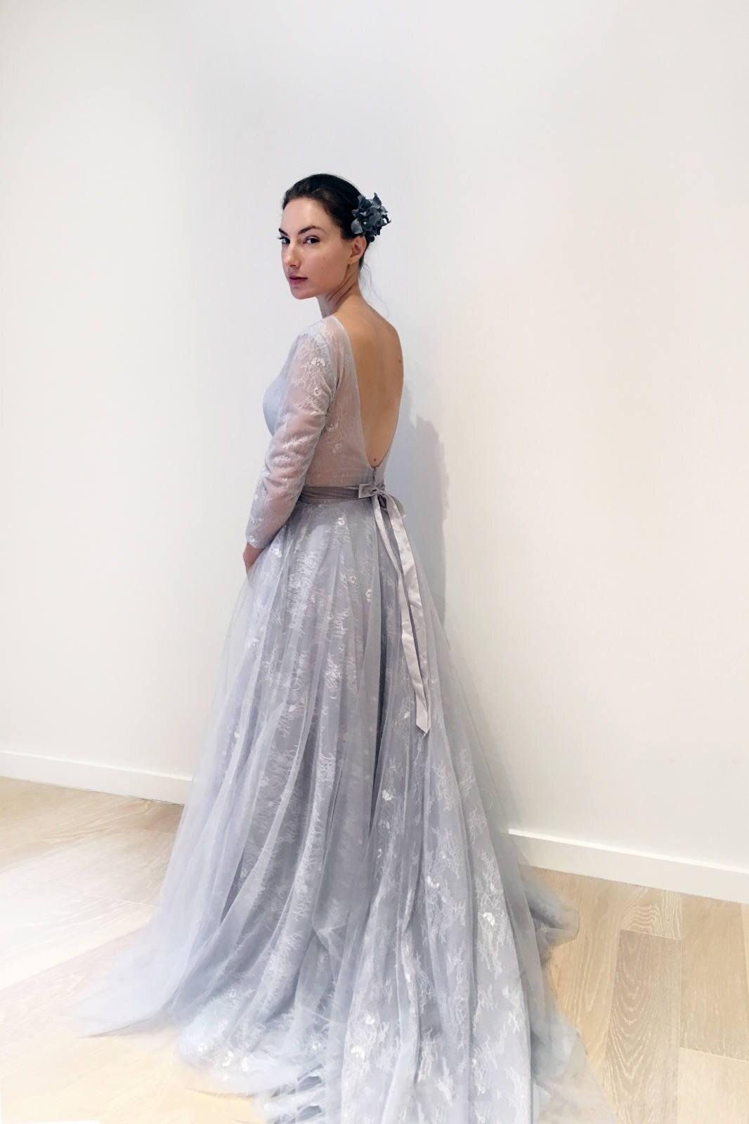 Simple Gray Blue Lace Long Sleeve Wedding Dress