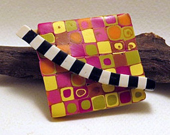 Brooch. Square brooch in bright colours with black and white band. Tokyo Subway range of brooches.