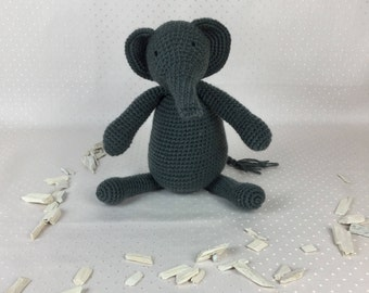 Crocheted stuffed animal; Elmo the elephant