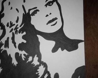 black and white drawing Brigitte bardot