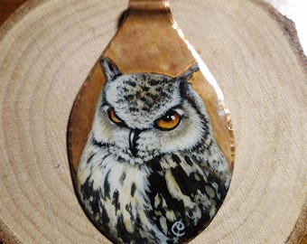 Portrait of Bengali Royal Owl on copper