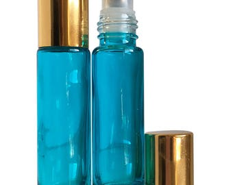 Bahama Blue 10 ml. Roller Bottles with Stainless Steel Rollers - (6 Pack)
