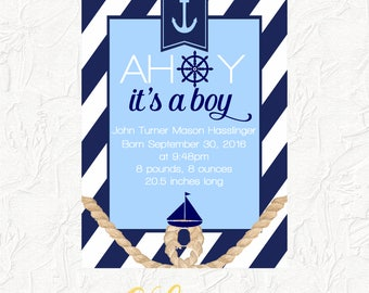 """Nautical Birth Announcement, Baby Arrival Announcement, Nautical, Ahoy It's a Boy, Printable Birth Announcement, 5x7"""" Digital Printable File"""