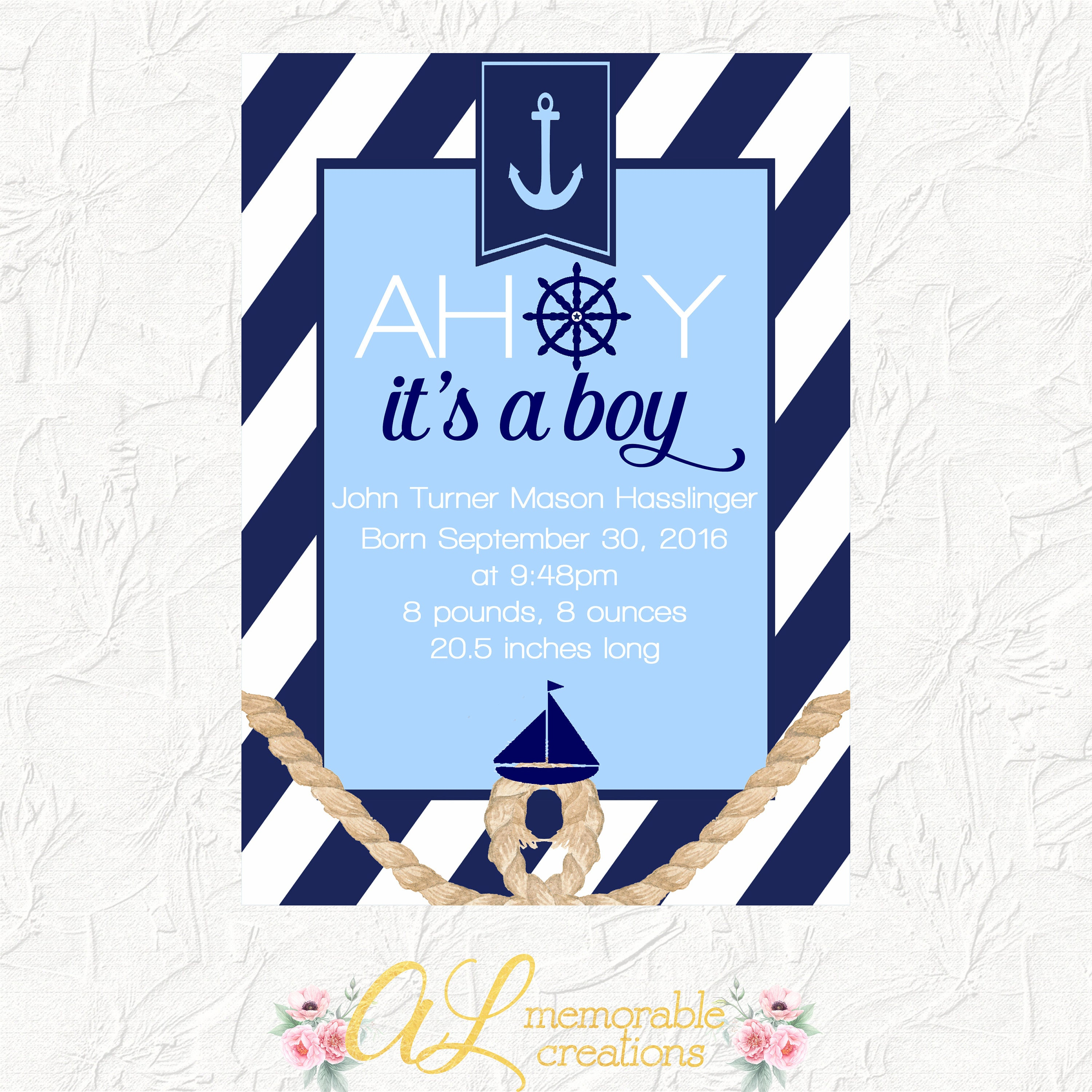 nautical birth announcement baby arrival announcement
