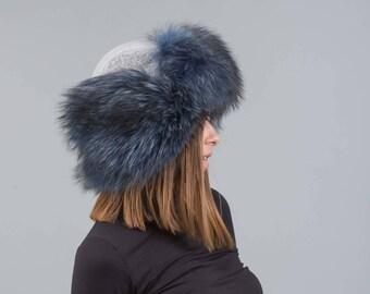Gray Fur Hat Trapper With Blue Fox, ushanka hat ,russian fur hat, fur hat, long hair fox fur, winter hat, cossack hat, trapper hat