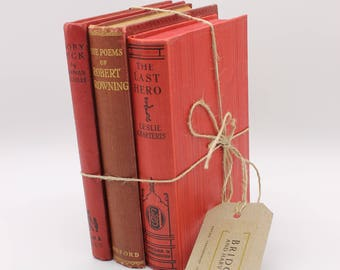 Set of Three Hardcover, Antique Red Books/ Display Books