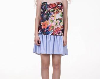 Semi sheer top, red flowers print, sleeveless top, tropical print, heart neckline, loose fit summer top, floral Hawaii tank top, sale