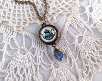 Reversible Blue Teapot and Teacup Pendant Necklace