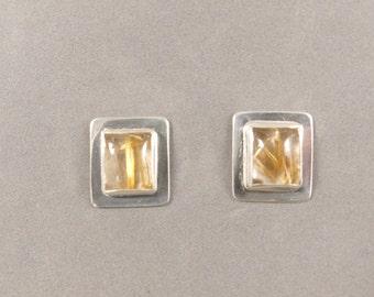 Rutilated Quartz Earrings, Quartz Earrings, Sterling Silver Earrings