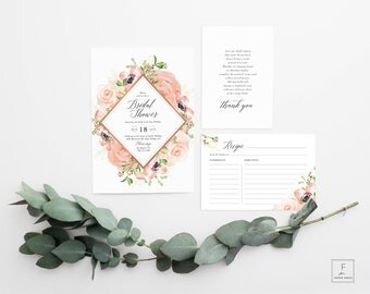 Bridal Shower Invitation, Bridal Shower Invitation and Recipe Card, Bridal Shower, Pink Floral Invite, Boho Bridal Shower Invitation, #PRG
