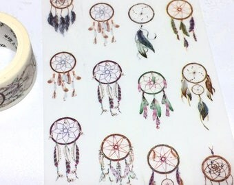 dream catcher washi tape 7M x 2cm wind chimes dream catchers sticker tape bohemian boho style indian feather decoration masking tape gift