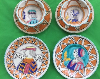 Vintage 6 pcs. Fusari Orvieto Plates, Saucers and bowl set/Made in Italy/Handpainted
