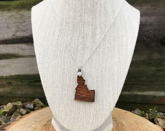 Idaho Necklace, Idaho State Necklace, Wooden State Necklace, Idaho Jewelry,  Personalized Gift, Going Away Gift