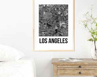 Los Angeles City Map Print - Black and White Minimalist City Map - Los Angeles Map - Los Angeles Print - Many Sizes/Colours Available