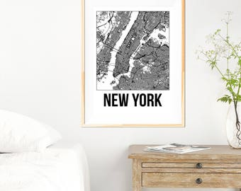 New York City Map Print - Black and White Minimalist City Map - New York Map - New York Art Print - Many Sizes/Colours Available