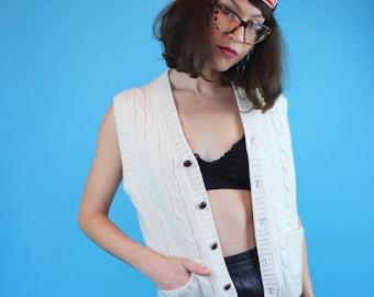 Vintage Wool Button-Up Sweater Vest
