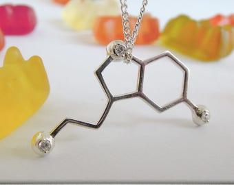 science gift serotonin necklace molecular jewelry serotonin molecule chemistry gift serotonin pendant molecule jewelry serotonin jewelry