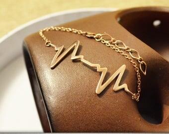 Gold pulse bracelet Double heartbeat Ekg jewelry Gift for nurse Heartbeat jewelry Medical gift Gift for doctor Biology jewelry Nurse jewelry