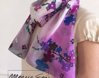 PURPLE FLORAL HAND Painted silk scarf/purple,royal blue,plum,charcoal flowers/large brush strokes across/Original hand painted wearable art