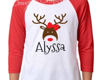 YOUTH Reindeer Girl or Boy Raglan 3/4 Sleeve/Unisex Raglan Baseball T-Shirt/Multiple Colors/