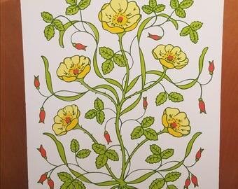 Vintage Decorative Cutting Board, Flower Power, Retro Flower Art, Kitchen Art, Wood Cutting Board, A Lorrie Design
