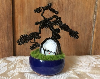 Novelty Miniature Wire Bonsai Tree Sculpture Mounted Over Golf Ball with Grass