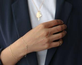 Dainty Gold Hand Chain - 14k Gold Filled Slave Bracelet - Beaded Finger Bracelet - Gift for Her - Minimalist Jewelry - Bohemian Jewelry