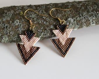 Boucles d'oreilles perles tissées, boucles d'oreille pendantes, boucles d'oreilles roses, vieil or,
