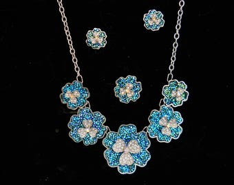 Druzy And Crystal Flower Necklace Earring Ring Set #351