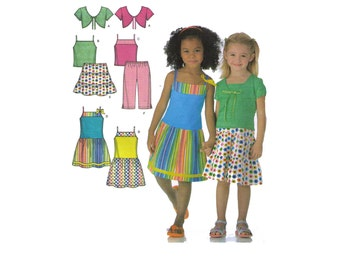 Simplicity 4252 sewing pattern, size 3-8 girl's capri pants, tiered pants, tiered skirt pattern, shrug pattern, shirt pattern