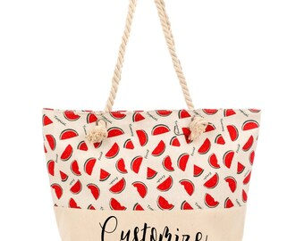 CUSTOM TEXT Watermelon Natural Canvas Beach Tote Bag- Watermelon Tote Beach Bag- Personalized Bachelorette Totes- Vacation Custom Bag