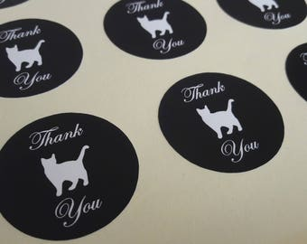 Cat Round Thank You Self Adhesive Glossy Labels Envelope Seals Stickers Wedding Favors