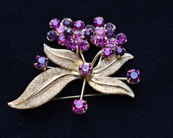 "Vintage Delicate Flower Spray Brooch Purple Rhinestone 1.5"" Mid Century Coat Sweater Pin Retro Costume Estate Jewelry"