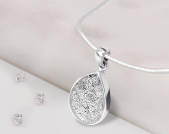Memorial resin and silver inlaid teardrop pendant
