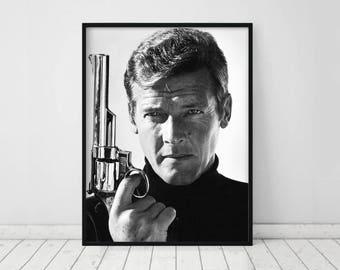 Roger Moore poster • Roger Moore print James Bond Print James Bond art James Bond 007 Roger Moore photo Roger Moore as James Art revolver