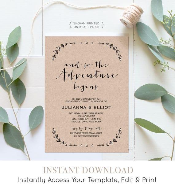 Rustic Engagement Party Invitation Template, Printable Engagement Announcement, 100% Editable, Laurels, Instant Download, DIY #031-110EP