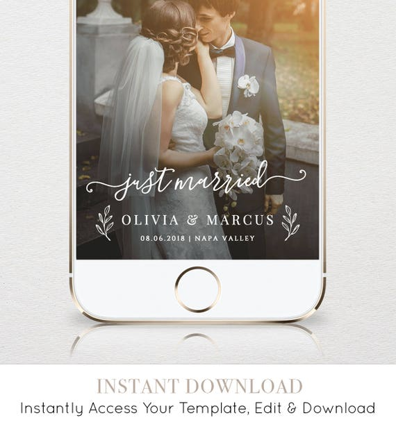 "Wedding Geofilter, Custom ""Just Married"" Snapchat Filter, Instant Download, 100% Editable Template, Unlimited Use & Customization #030-104GF"
