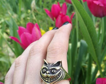 Cheshire Cat Ring, Alice in Wonderland Jewelry, Cheshire Cat Jewelry, Cat Jewelry, Kitty Ring Jewelry, Animal Cute Open Ring, Cat face