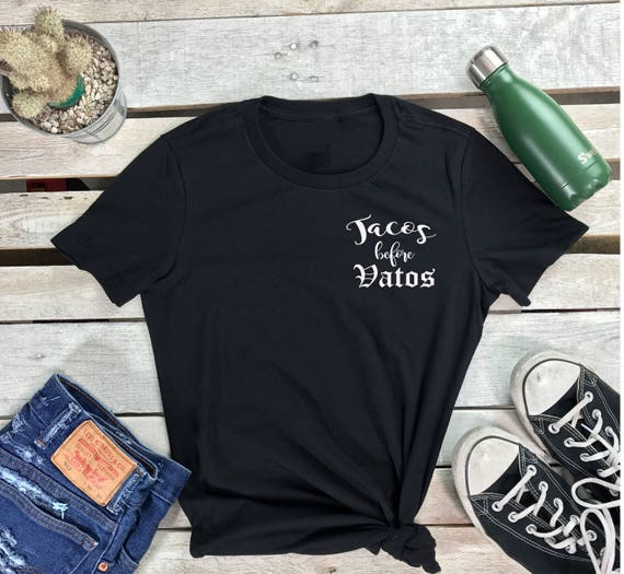 Tacos Before Vatos Women's Short Sleeve Crewneck T Shirt Mexican Taco Tuesday Tee , Taco Tshirt